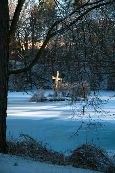 The Cross on the island in the middle of Lake Norcentra