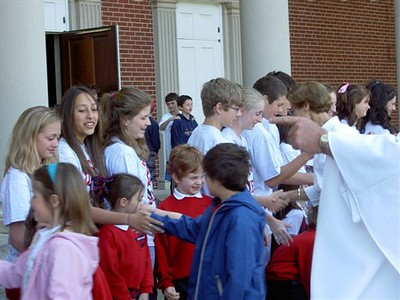 The receiving line after mass