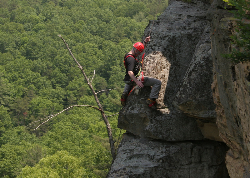 Performing a highly technical climbing maneuver?  Nope, just hunching the rock...plain and simple.