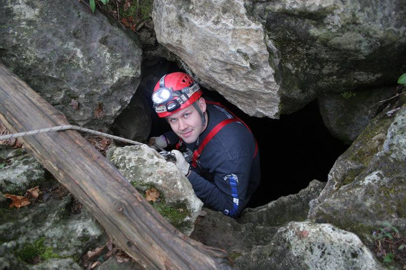 Tom beginning his ascent into Moses' Tomb, a 230 foot drop.