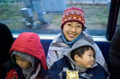 In JR en route to Bandai Museum