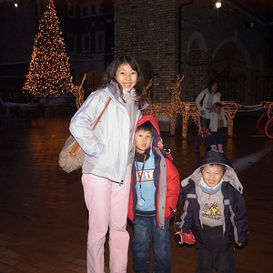 Tree and mom and kids