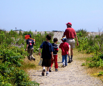 Rick and his group head for the beach habitat for the biodiversity survey.