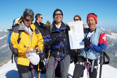 Beatrice, Dave and Dieter in foreground, with O map of the Breithorn