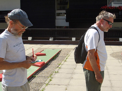 Peter and Dad at the minigolf course in Zermatt.  Dad was psyched to get a better score than Peter!