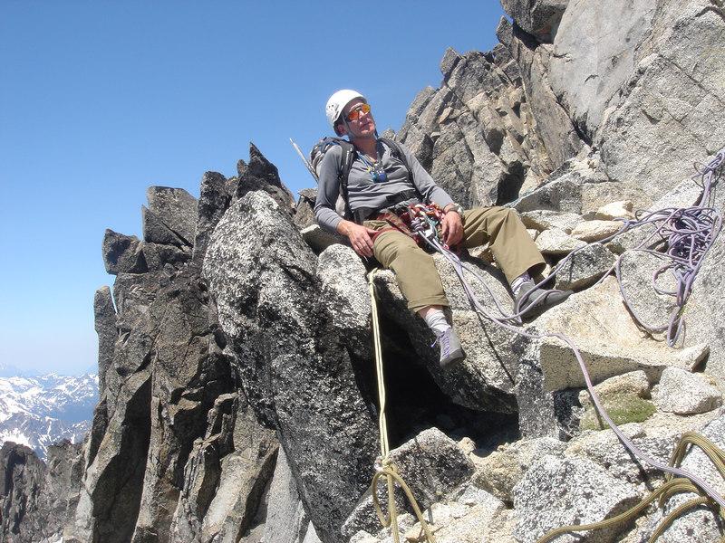 60 Juan waiting to belay at the summit block