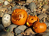 Pumpkins, and a rock skull