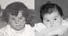 "Mirror image? Margie was putting her face next to Camryn and saying ""mirror image"" (My siblings are SO derivative!).  I didn't have a good baby picture of Margie (she's about 3 in this one from a torn photo of the Walnut Lane kids).  I made Camryn's picture black and white and added some texture.  I dunno, maybe a mirror image... scary thought."