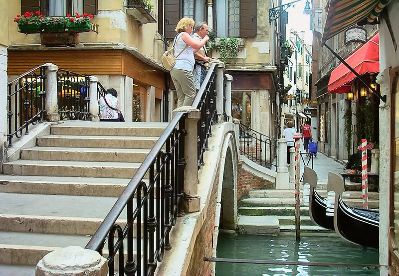 Walking in Venice - Venice is a great walking town. Little bridges, cobblestone streets with no cars, gondolas gliding by on narrow canals, stores, trattorias