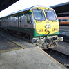 The failed and disgraced 219 on the rear of the 0930 Cork - Heuston. Tues 21.11.06