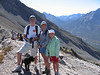 Brendan, Kathy, and Rowan - at Ha Ling peak, facing back the way we came (and still had to descend - those poles are GREAT!)