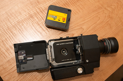 Camera opened with Super 8 cartridge