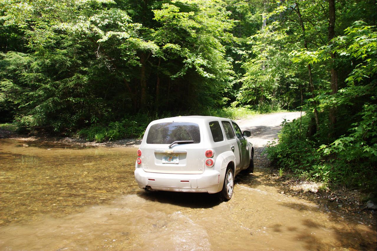First stream crossing in car successful.