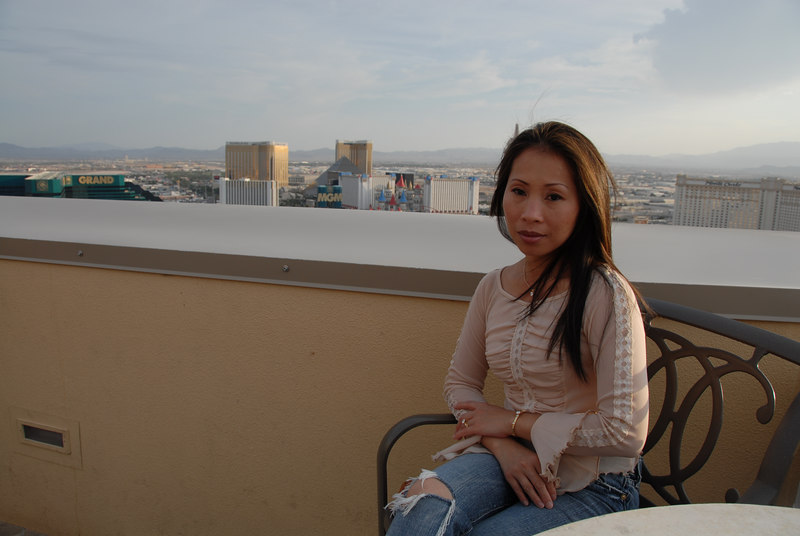 On top of the Marriott's Grand Chateau (38th floor where the small pool is)