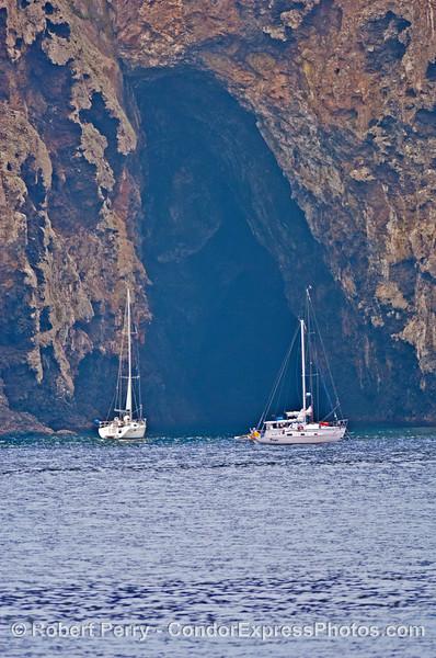 Painted Cave w sailboats 2006 08-18 Sta Cruz Island--001