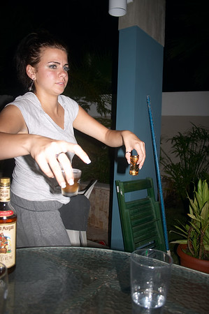 Mia makes a good bartender
