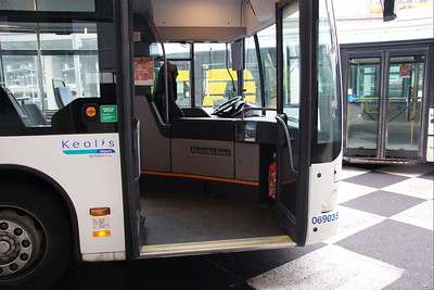 I was going to ride in this bus to the RER train station, but due to a traffic blockage, I just walked it. I had a friendly conversation with the driver who spoke some English.