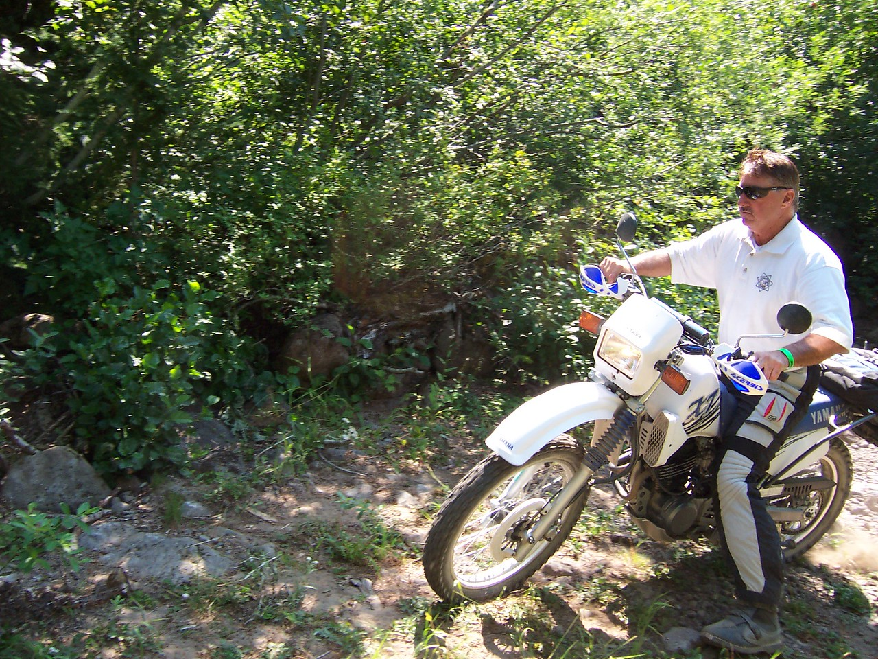 Rory, needs a helmet, on Sylvia's XT350.