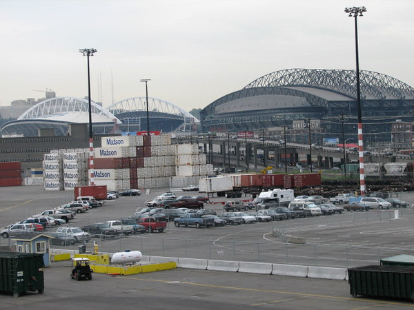 After lunch we went up on deck and took a few photos- here's the dome they hold sporting events in.