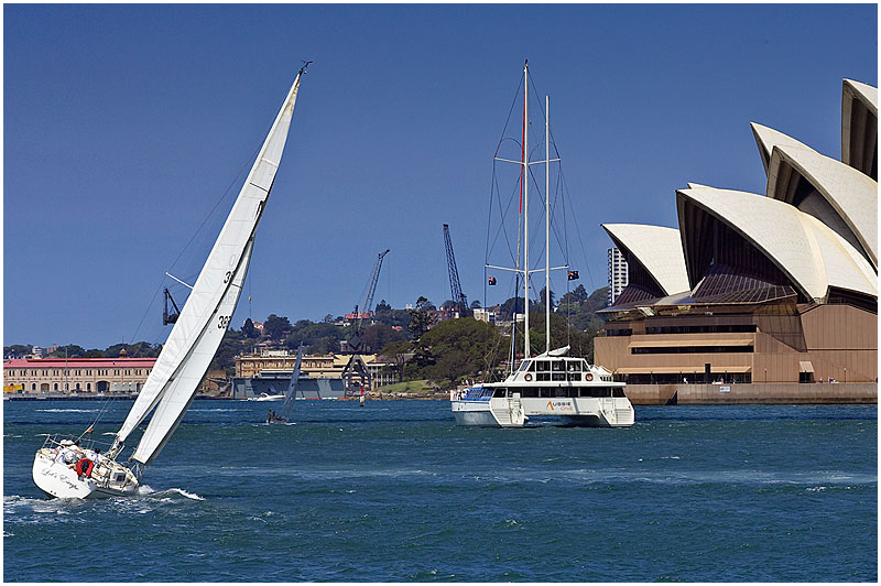 Sydney Harbour, Wednesday April 12th 2006. <br /> <br /> A perfect day for sailing. <br /> <br /> <br /> EXIF DATA <br /> Canon 1D Mk II. EF 70-200mm f/2.8L@150mm 1/400s f/11 ISO 200.