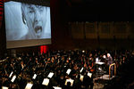 """John Williams conducts an evening of film music at the New York Philharmonic Spring Gala, Lights! Camera! Music!, on April 26, 2006, with Steven Spielberg and Martin Scorses as special guest hosts.  Here, the infamous shower scene from """"Psycho.""""  <br /> PHOTO: Chris Lee"""