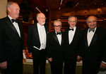 New York Philharmonic Chairman Paul B. Guenther (left) was honored at the New York Philharmonic's Spring Gala on April 26, Lights! Camera! Music!.  The program was conducted by John Williams, with Martin Scorsese and Steven Spielberg as guest hosts.  Also pictured is Philharmonic President and Excutive Director Zarin Mehta (far right).   <br /> <br /> Photo by Chris Lee©