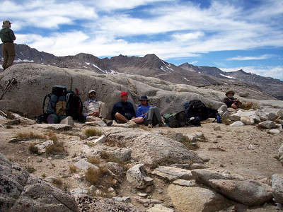 Lunch at the pass out of the wind.