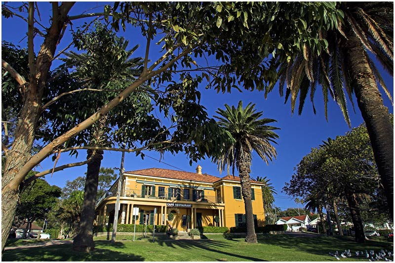 Dunbar House, Watson's Bay, Saturday August 19th 2006. <br /> <br /> Dunbar house was built in 1837 by Mortliner Lewis, Colonial Architect. It had a long history of usage as a hotel with variety of names before being sold to the local council in the 1924 and used as council chambers. It now operates as a restaurant and wedding venue. <br /> <br /> <br /> EXIF DATA <br /> Canon 1D Mk II. EF 17-35 f/2.8L@17mm 1/250s f/7 ISO 200.
