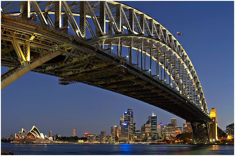 Sydney Harbour Bridge, Saturday August 12th 2006. <br /> <br /> Harbour Bridge at sunset. <br /> <br /> <br /> EXIF DATA <br /> Canon 1D Mk II. EF 24-80mm f/2.8L@51mm 4 secs f/8 ISO 400.