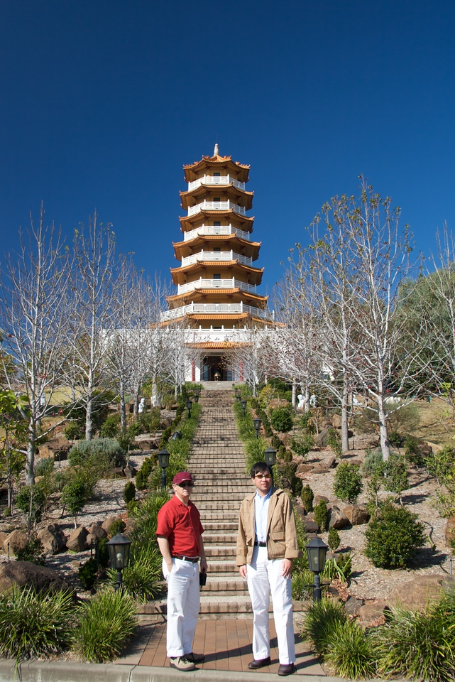 Michael and Phuong • Michael and Phuong stand in front of the pagoda at the enormous Nan Tien Temple, which is in the Illawarra region of New South Wales, south of Sydney.