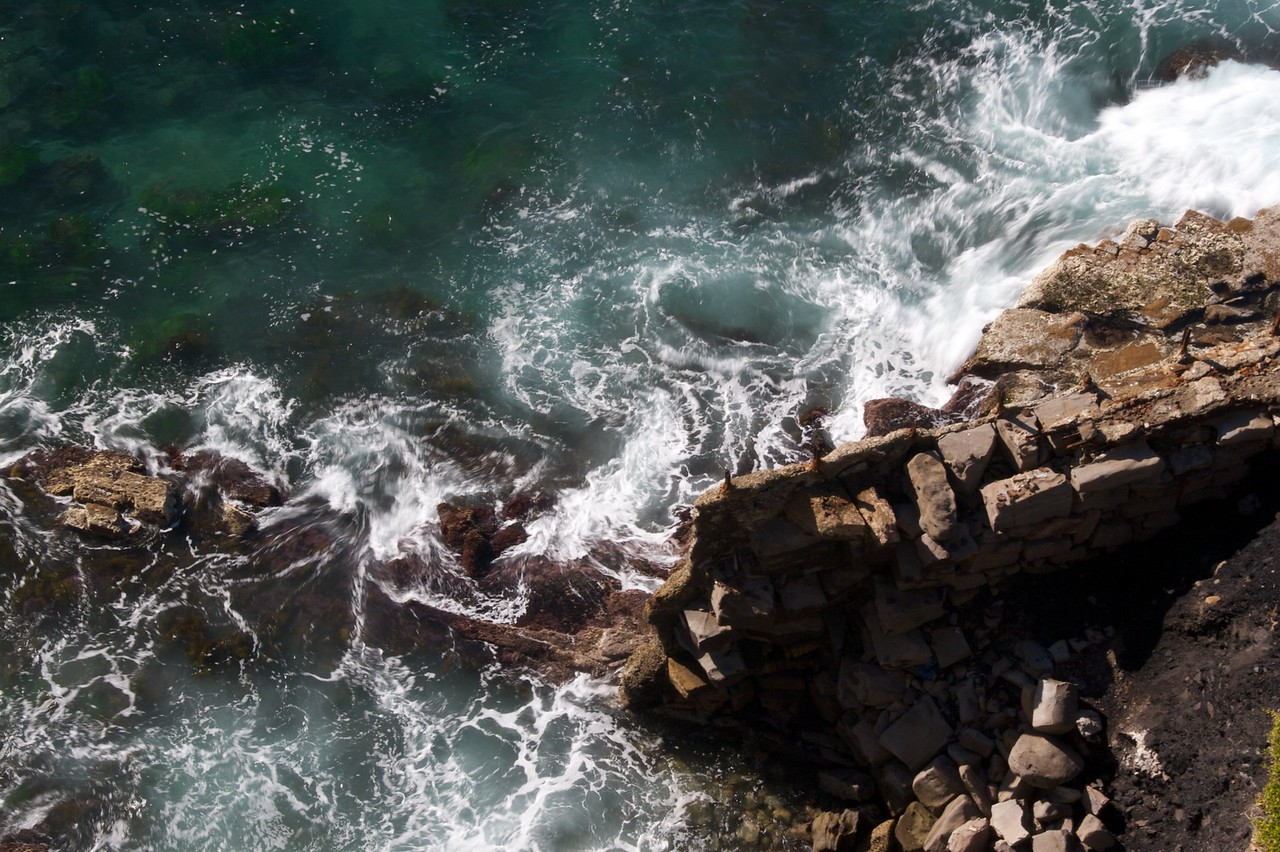 Waves crashing • Waves crashing against a rocky shore on the road down the south coast of New South Wales.