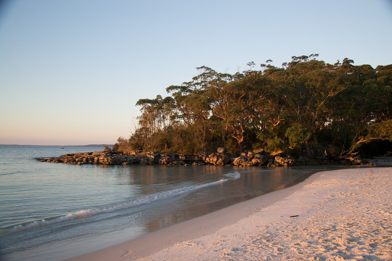 Sunset at Jervis Bay • The sun was setting by the time we got to Jervis Bay.  Jervis Bay is interesting because it is Commonwealth—not State—land (there is a naval base there), and because the beach has very white sand.