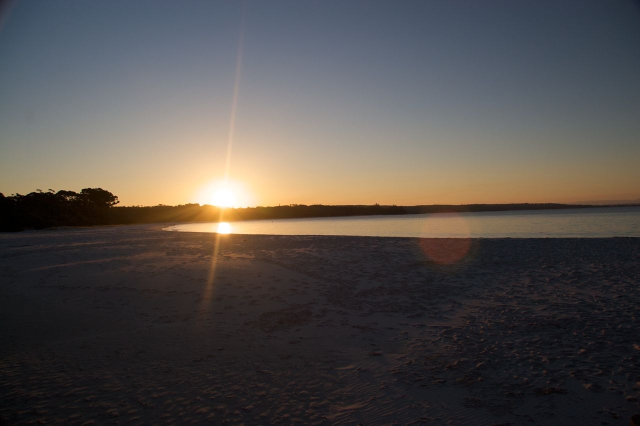 Sunset over Jervis Bay • The sun was setting by the time we got to Jervis Bay.  Jervis Bay is interesting because it is Commonwealth—not State—land (there is a naval base there), and because the beach has very white sand.