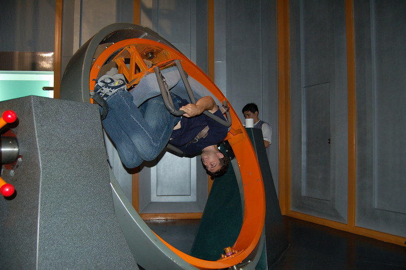 Richard upside down (at the Sci-Tech Museum)