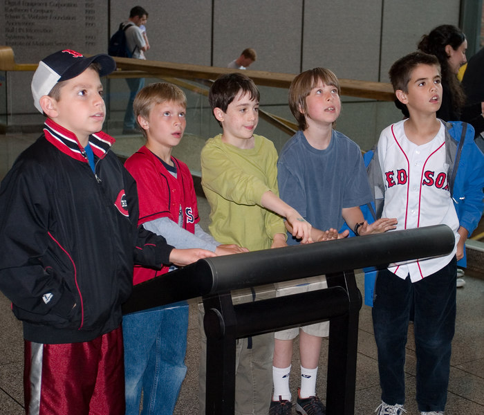 Benjamin, Trevor, Benjamin, Nicholas, and Tim admiring the big map of the Boston area.