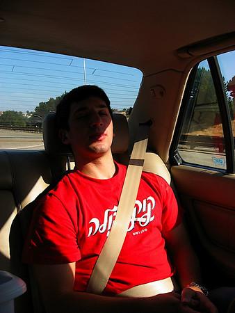 Aaron fell asleep on the way to wakeboarding.