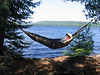 Dominic learns the joys of a hammock on beautiful Rose Lake.