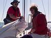 Preparing to raise the mainsail.
