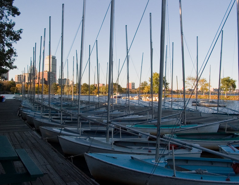 Early morning on the river, boats waiting.