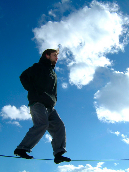 Dylan walks with the clouds over Boulder, Colorado.