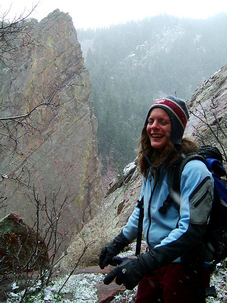 Lisa is frozen mid-laugh overlooking Eldorado Canyon near Boulder.
