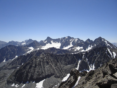 View of the Palisades from the summit of Cloudripper, 13525'.