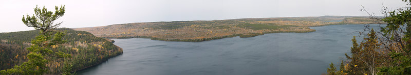 A panorama shot from the site of Chad's final resting spot high above Rose Lake.