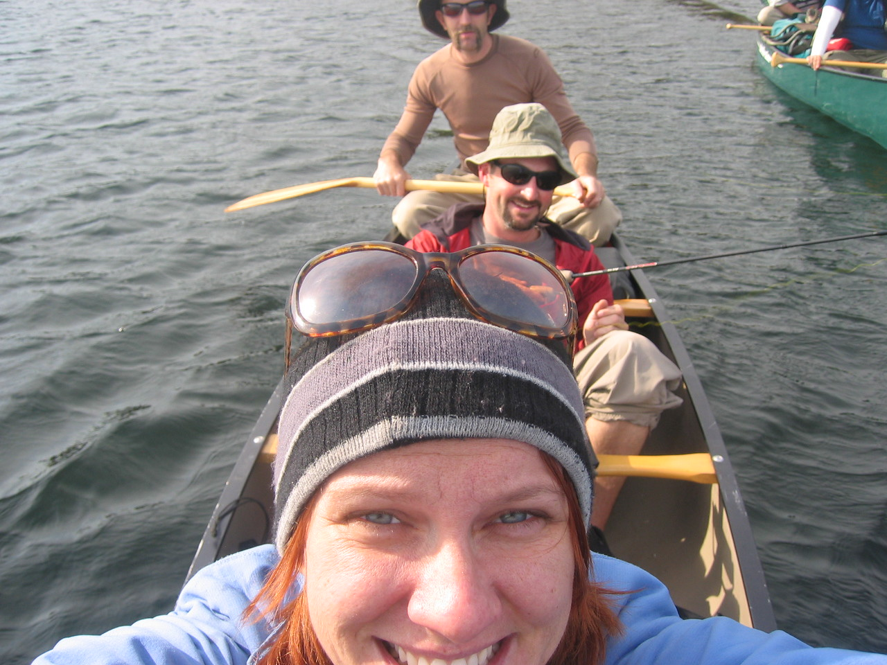 "Mindy takes the patented ""Chad Shot"" from the front of the canoe."