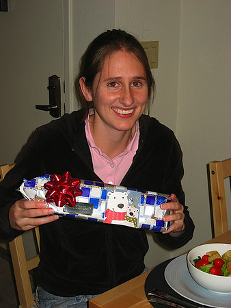 Katy opening her chanukkah present
