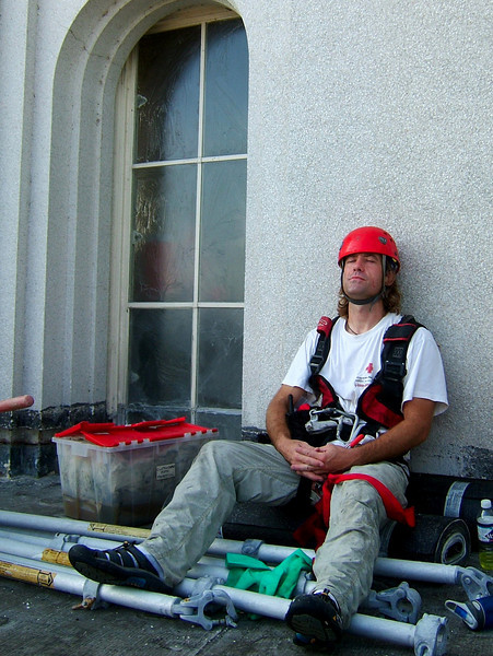 Mike takes a bit of a break from the work on the temple.