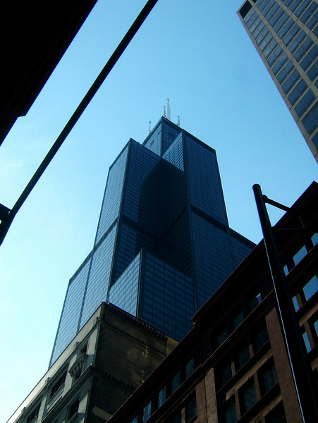Another of Chicago's landmark features, the Sears Tower, looms high on the skyline.