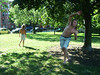 Phil works the slackline in a park north of downtown.
