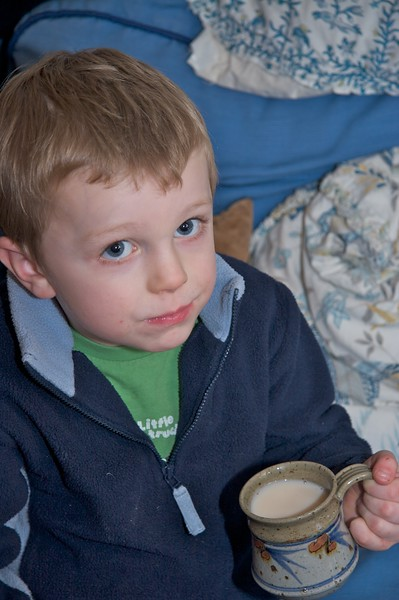 Tea • Francis with his cup of tea in the drawing room on 28th December.