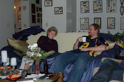Grandma Schneider and Curtis being festive.